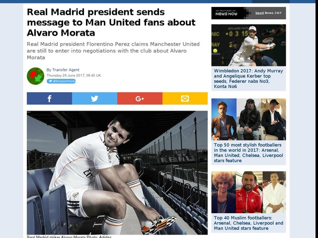 Real Madrid president sends message to Man United fans about Alvaro Morata