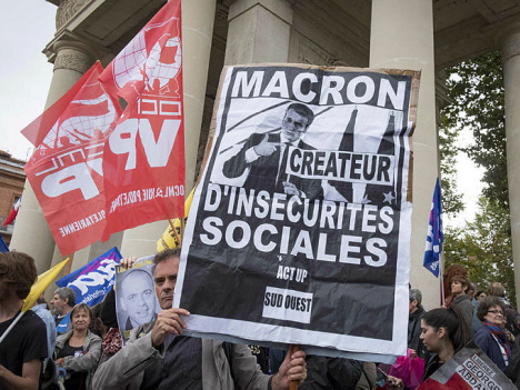 Labour protests hit France in key challenge for Macron