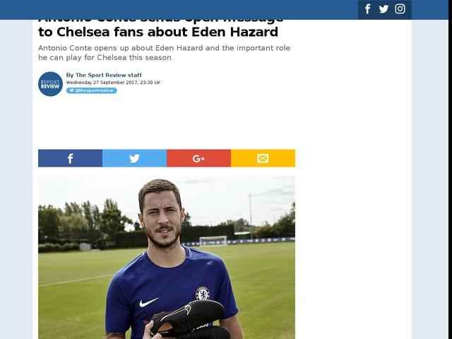 Antonio Conte sends open message to Chelsea fans about Eden Hazard