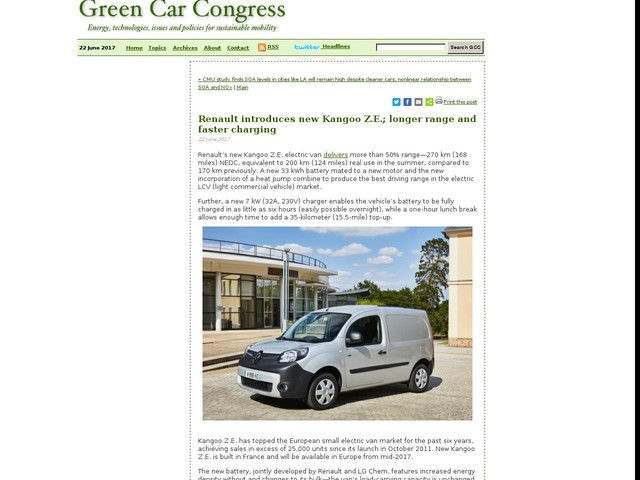 Renault introduces new Kangoo Z.E.; longer range and faster charging