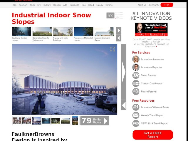 Industrial Indoor Snow Slopes - FaulknerBrowns' Design is Inspired by Railway Hangars (TrendHunter.com)