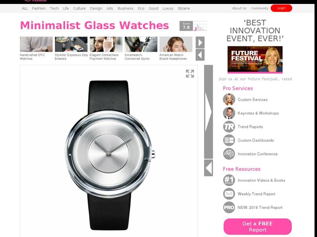 Minimalist Glass Watches - Tokujin Yoshioka's Newest Watch is Made from Solid Glass (TrendHunter.com)