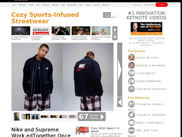 Cozy Sports-Infused Streetwear - Nike and Supreme Work edTogether Once Again for Fall/Winter 2018 (TrendHunter.com)