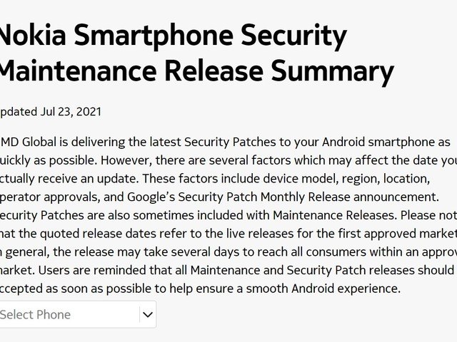 Nokia Mobile updated the official update tracker on July 23