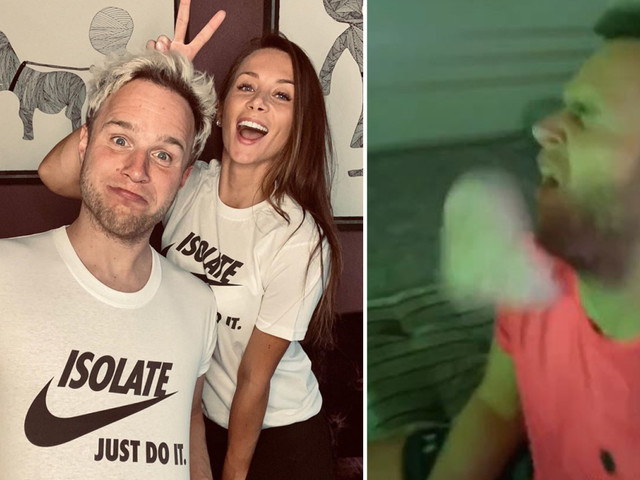 Olly Murs' 'fed up' girlfriend flings slice of ham in singer's face while he's playing FIFA as prank war continues
