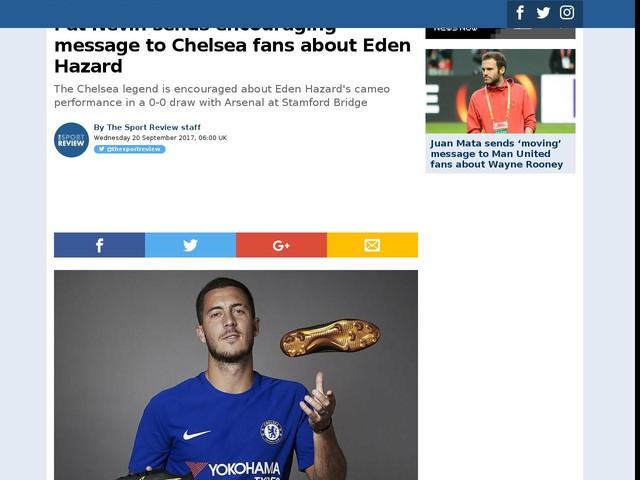 Pat Nevin sends encouraging message to Chelsea fans about Eden Hazard