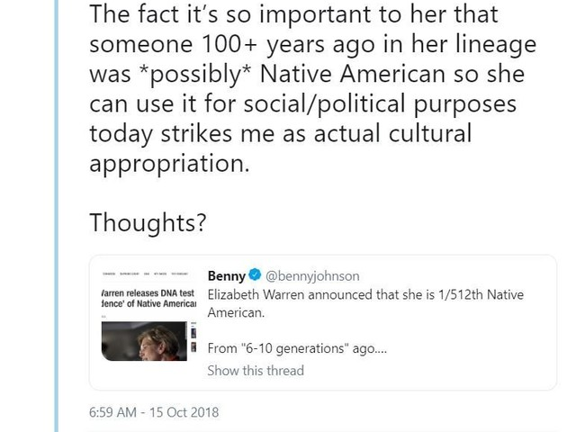 """***CULTURAL APPROPRIATION*** """"The fact it's so important to her that someone 100+ years ago in her lineage was *possibly* Native American so she can use it for social/political purposes today strikes me as actual cultural appropriation."""" - Dave Rubin"""