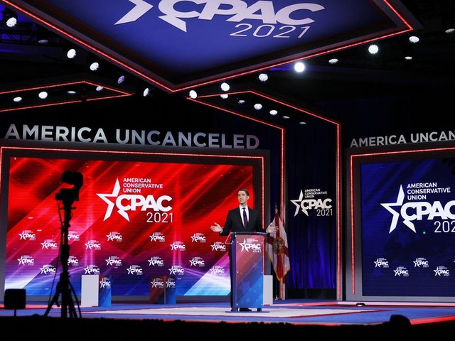 CPAC stage is shaped like a Nordic rune used on some Nazi uniforms