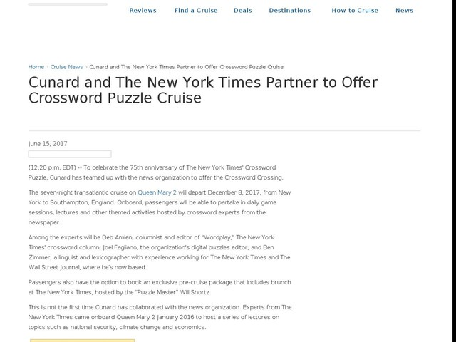 Cunard and The New York Times Partner to Offer Crossword Puzzle Cruise