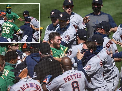 Houston Astros and Oakland A's clear the benches after outfielder Laureano is twice hit by a pitch