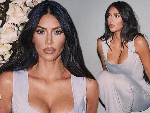 Kim Kardashian looks romantic in a stunning lavender corset dress for latest KKW Fragrance campaign