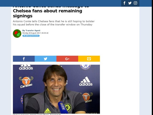 Antonio Conte sends message to Chelsea fans about remaining signings