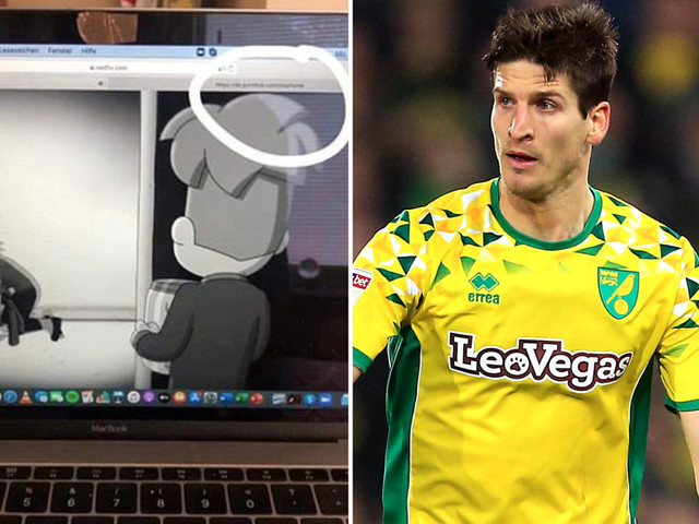 Norwich star Timm Klose shares Instagram story with Pornhub tab open on browser as he watches Netflix on his MacBook