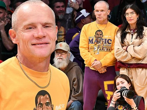 Flea heads courtside with wife Melody Ehsani as the Lakers take on Boston Celtics at Staples Center