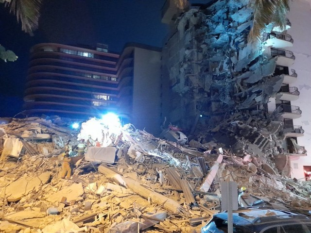 12 Story Surfside Condo Building on Collins Ave in Florida collapsed