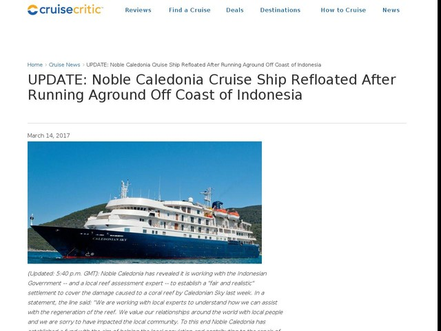 UPDATE: Noble Caledonia Cruise Ship Refloated After Running Aground Off Coast of Indonesia