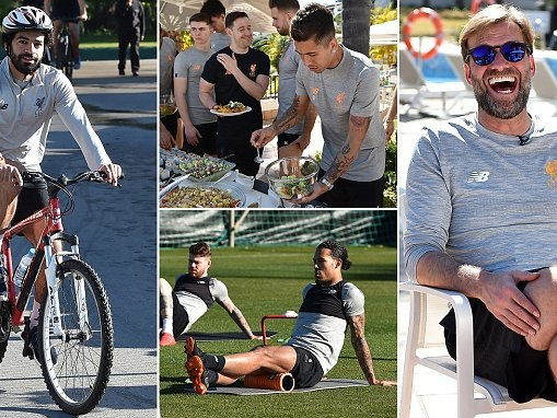 Liverpool take up cycling in Marbella as they enjoy break