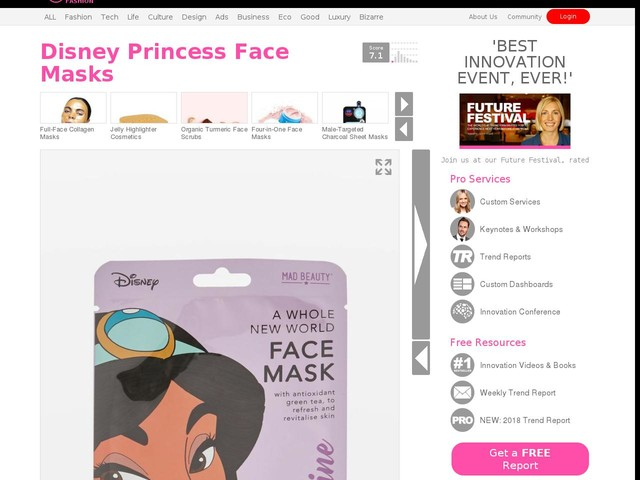 Disney Princess Face Masks - These New Mad Beauty Masks Feature Ariel, Belle, Aurora and Jasmine (TrendHunter.com)