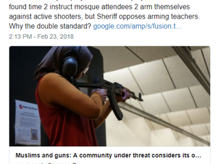 So the Broward Cowards instructed local mosques to arm themselves against potential active shooters but opposes schools doing the same thing. Go ahead r/ redacted. Explain why it's a good idea for one and not the other. I'll wait.