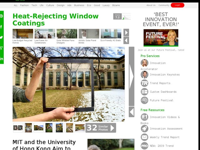 Heat-Rejecting Window Coatings - MIT and the University of Hong Kong Aim to Combat Climate Change (TrendHunter.com)
