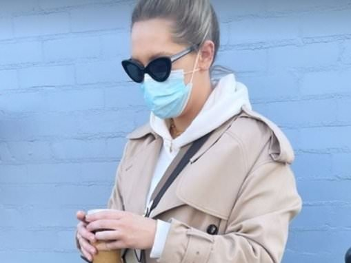 Phoebe Burgess wears a designer outfit worth THOUSANDS for a coffee run
