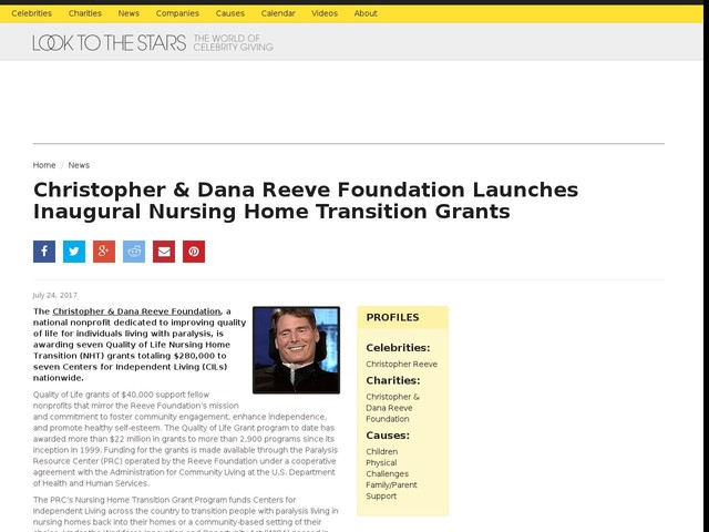 Christopher & Dana Reeve Foundation Launches Inaugural Nursing Home Transition Grants
