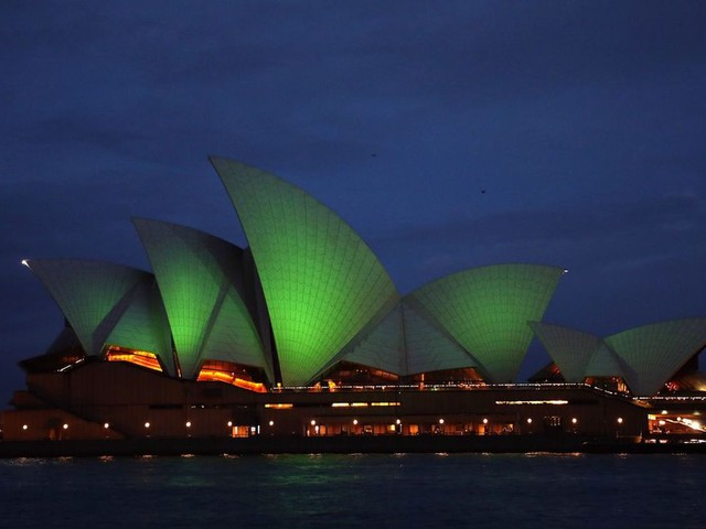 Famous landmarks around the world turn green for St. Patrick's Day