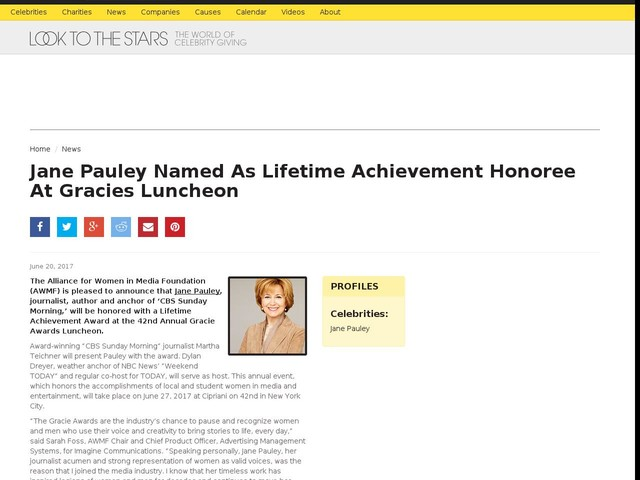 Jane Pauley Named As Lifetime Achievement Honoree At Gracies Luncheon
