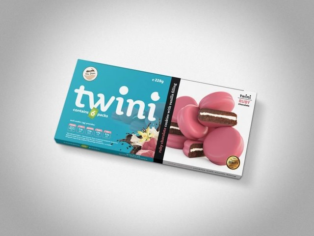 Pink Chocolate-Covered Cookies - Twini Dark Cocoa Sandwich Cookies are Coated in Ruby Chocolate (TrendHunter.com)