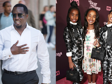 Diddy Kisses Beautiful Twin Daughters, 12, In Their Sunday Best As He Gathers With His Kids For Easter