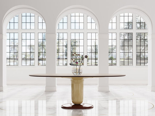 Elegant Space-Maximizing Dining Tables - The Explorer Dining Table Relies On One Central Leg Support (TrendHunter.com)