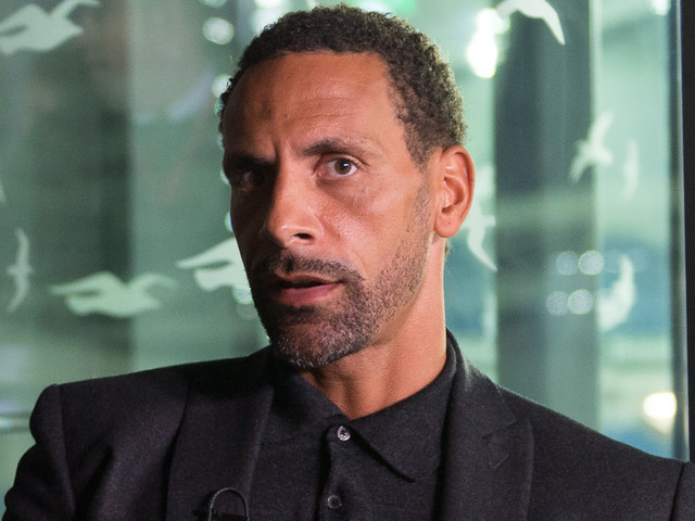 Rio Ferdinand reacts to Alexandre Lacazette's goal in Arsenal's 2-0 win over Chelsea FC