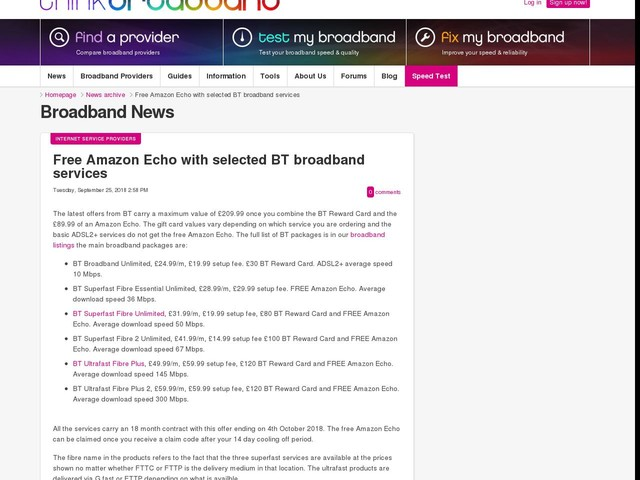 Free Amazon Echo with selected BT broadband services