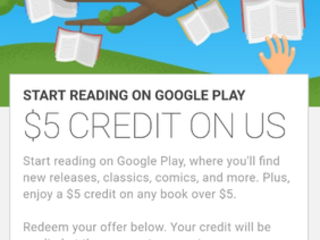 Some Android users are receiving a $5 credit from Google for the purchase of a book