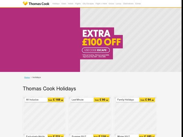 Holidays 2017 / 2018 - Thomas Cook