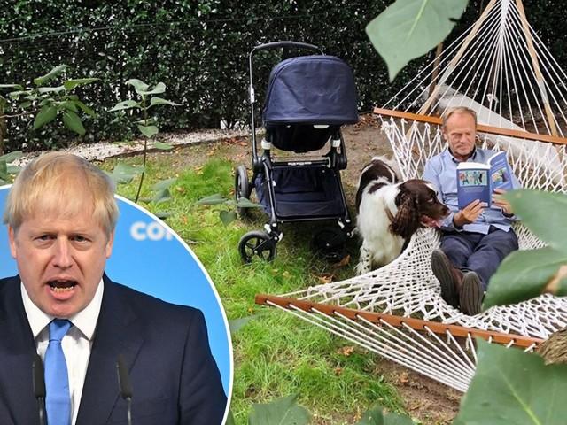EU chief Donald Tusk shares mocking hammock snap as he blasts BoJo's Brexit deal