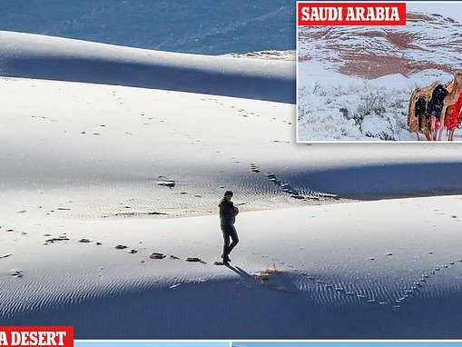 Ice blankets the Sahara desert while snow falls in Saudi Arabia where temperature has dropped to -2C