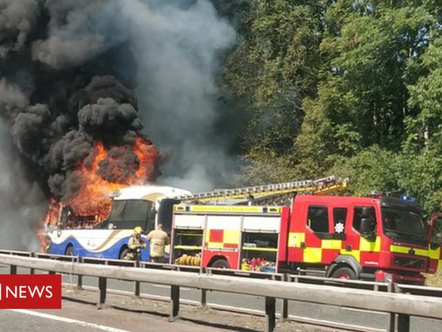 M2 Belfast: Fire service fights bus blaze on motorway