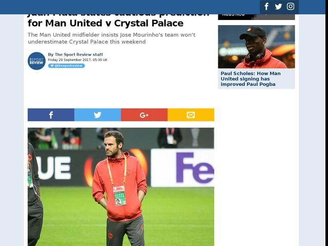 Juan Mata states cautious prediction for Man United v Crystal Palace