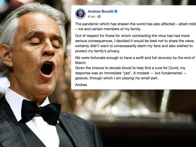 Andrea Bocelli says he and family had coronavirus but 'didn't want to alarm' fans as he confirms they've fully recovered