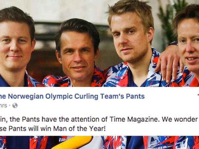 The Norwegian Olympic curling team's pants have their own fan page — and it's obvious why