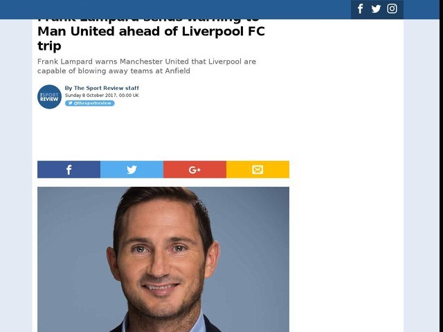 Frank Lampard sends warning to Man United ahead of Liverpool FC trip