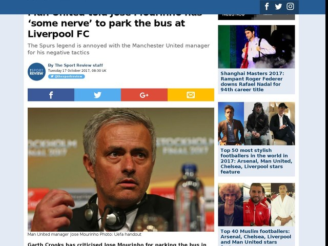 Man United told Jose Mourinho has 'some nerve' to park the bus at Liverpool FC
