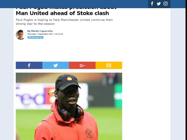 Paul Pogba makes prediction about Man United ahead of Stoke clash