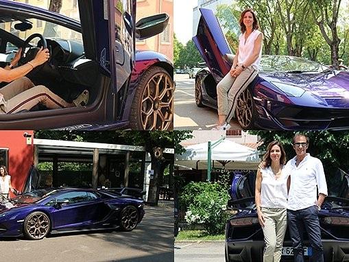 Julia Bradbury drives a Lamborghini Aventador SVJ in Italy