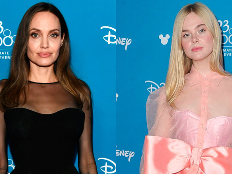 Angelina Jolie Stuns In Black Dress While Elle Fanning Dazzles In Pink For 'Maleficent' At D23
