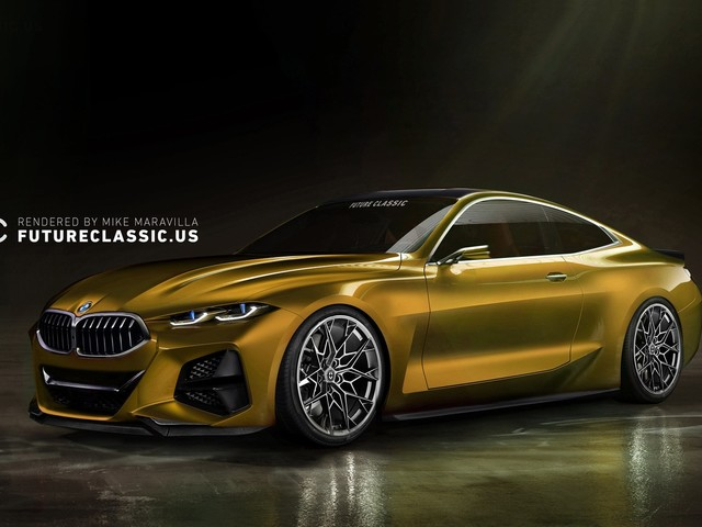 Renderings show the BMW Concept 4 with different kidney grille and wheels