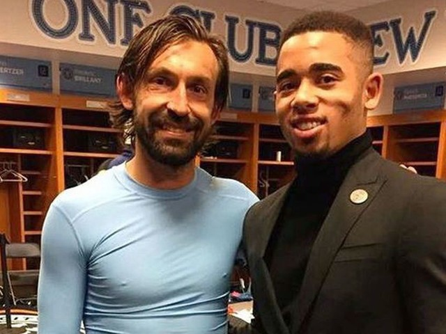 Injured Gabriel Jesus visits Andrea Pirlo in New York City while Manchester City star is still on crutches
