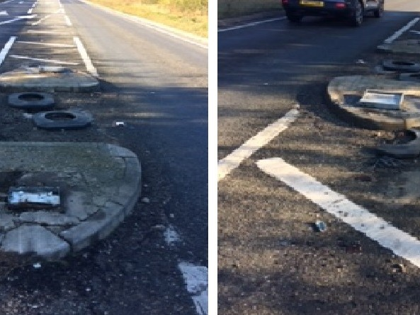 Safety bollards to be replaced after A120 crash
