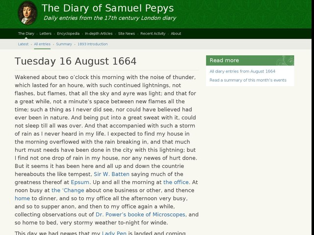 Tuesday 16 August 1664